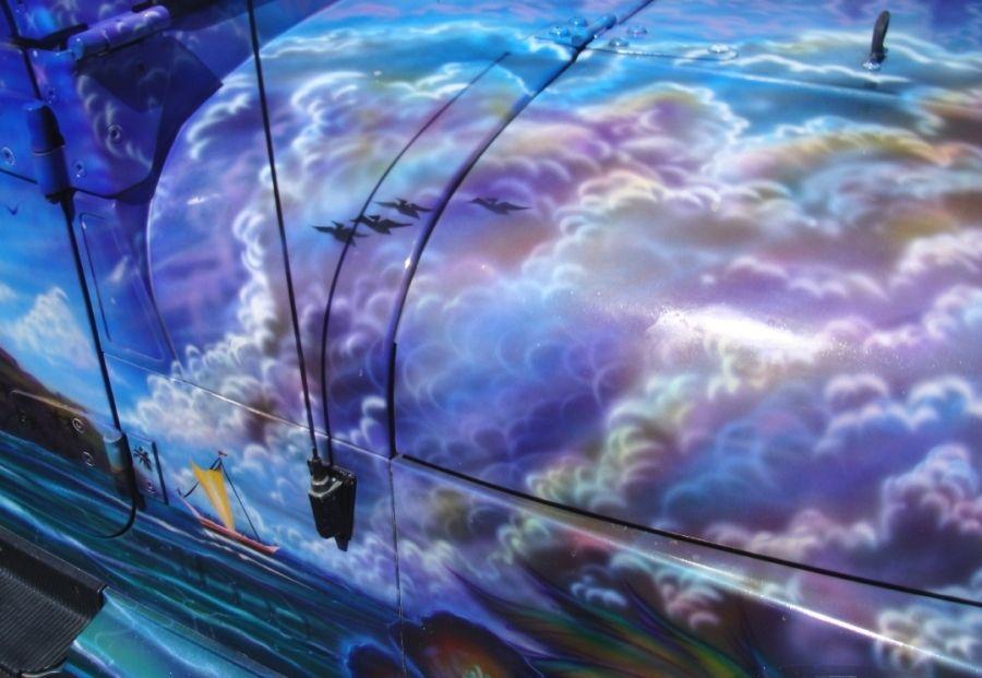 Jeep - pintura artística paisagem aerógrafo