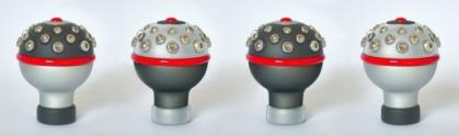 Manoplas preto, prata e vermelho