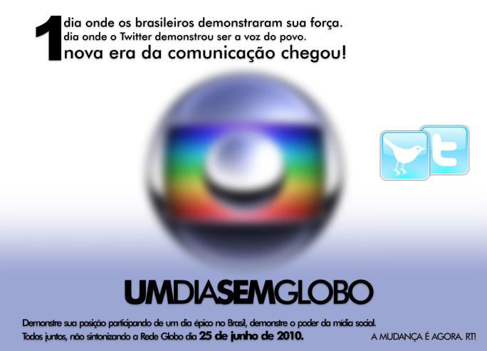 Um dia sem Globo - campanha no Twitter