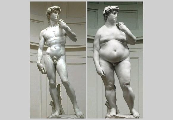 Davi, escultura de Michelangelo - O Gordo e O Magro