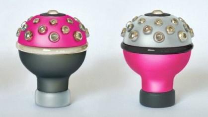 Manopla de câmbio rosa preto e prata