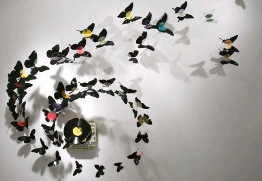 Artesanato - decoração com discos de vinil