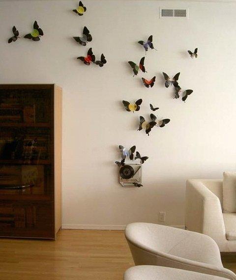 Decoração - borboletas artesanais com velhos discos de vinil