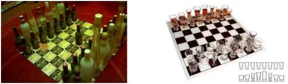 Jogo de xadrez com bebidas
