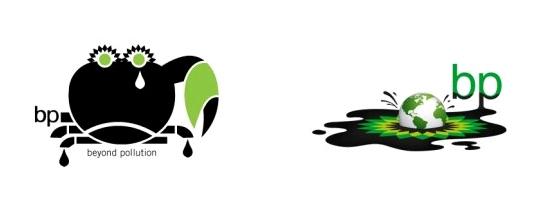 Logo da BP e efeitos do vazamento de petróleo