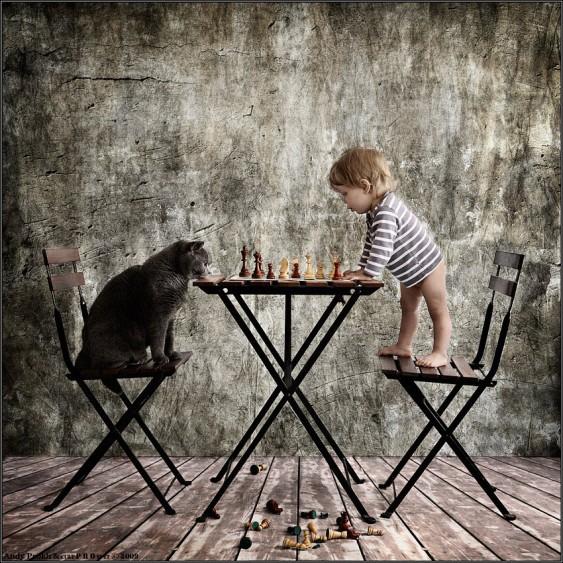 Criança e gato em jogo de xadrez