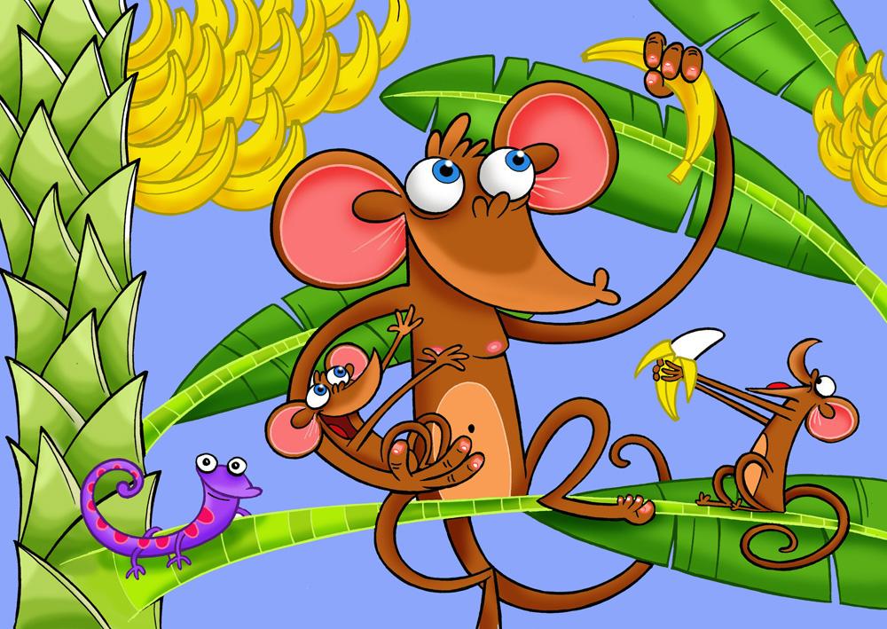 Wallpaper - Macacada fazendo a festa com as bananas
