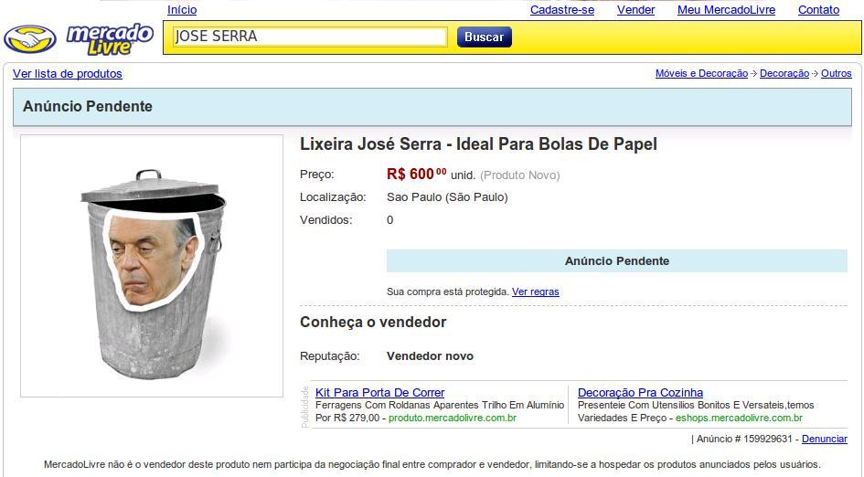 José Serra - Lixeira Mercado Livre