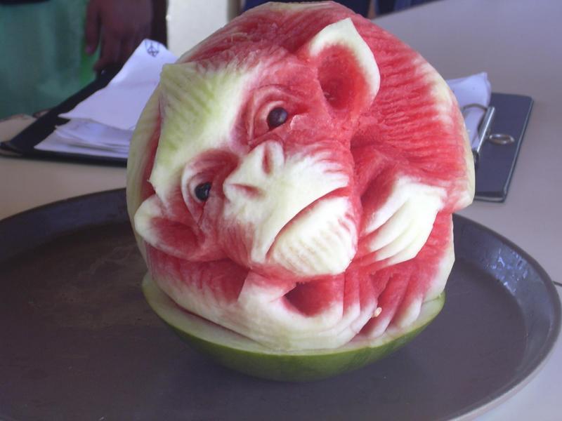 Macaco Comestivel Incrivel Arte Da Escultura Em Melancia