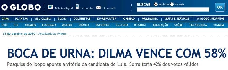 Vitória de Dilma na boca de urna