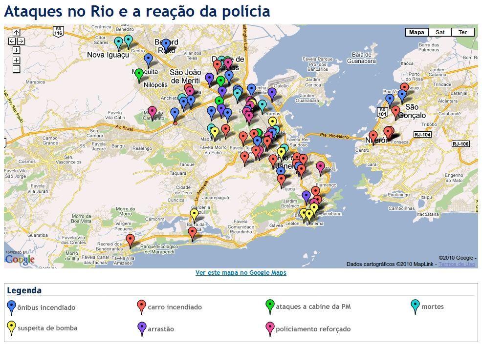 Mapa de ataques e violência no Rio de Janeiro