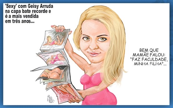 Charge - universitária Geisi Arruda na revista Sexy