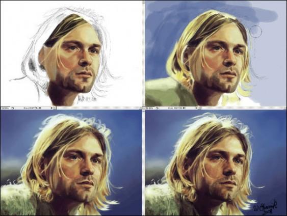 Kurt Cobain - desenho com photoshop