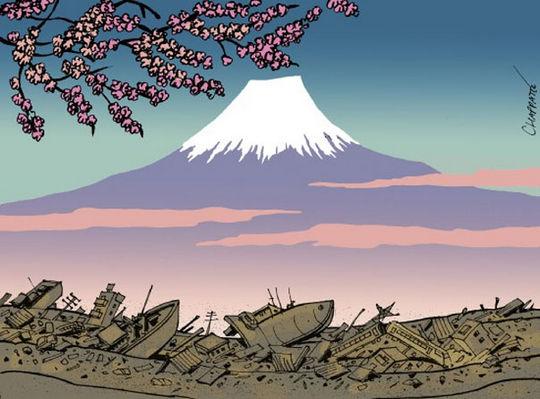 Tsunami - Japão - cartum