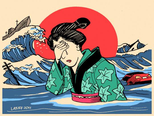 Tsunami - Japão - charge
