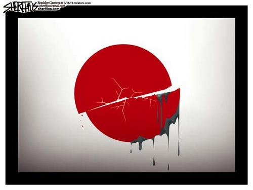 Charge - terremoto e bandeira do Japão