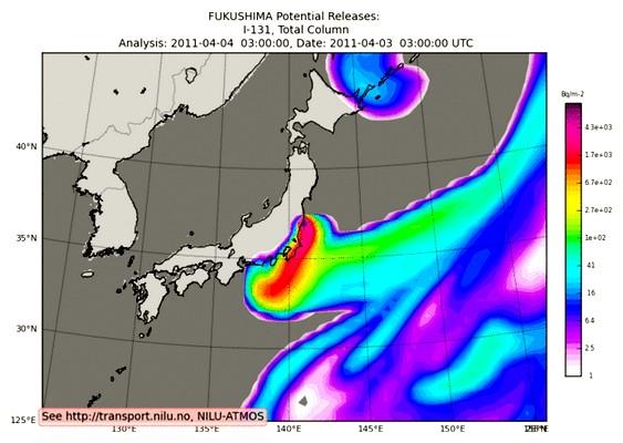 Radioatividade no mar - mapa