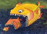 Peixe grande engole pequeno