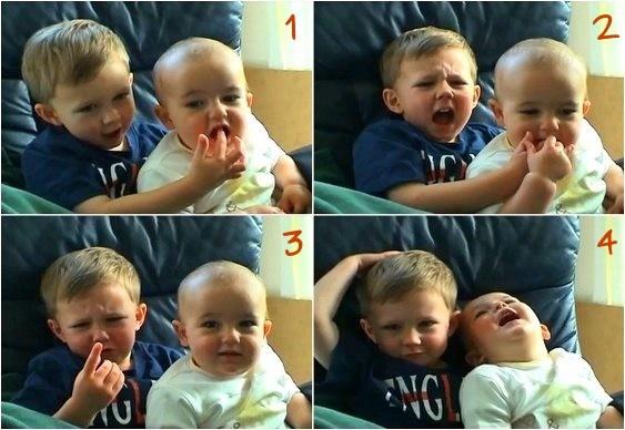 Vídeo - Bebê morde dedo do irmão