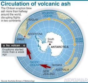 Nuvem expelida do Puyehue contorna planeta