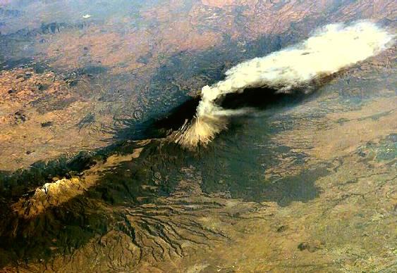 Vulcão Popocatepetl visto de satélite