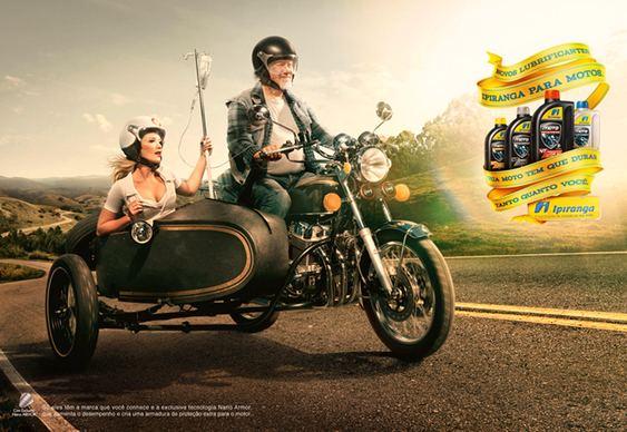 Idoso de moto - publicidade da Ipiranga
