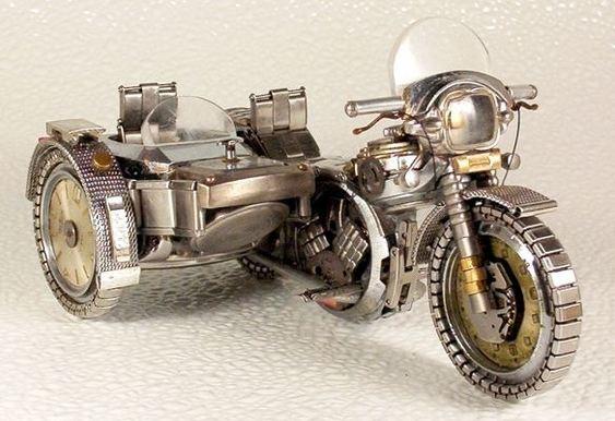 Motocicleta com sidecar - miniatura