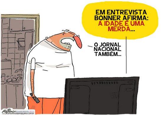 Charge Jornal Nacional da TV Globo