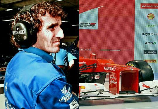 Nariz Alan Prost e carro Ferrari