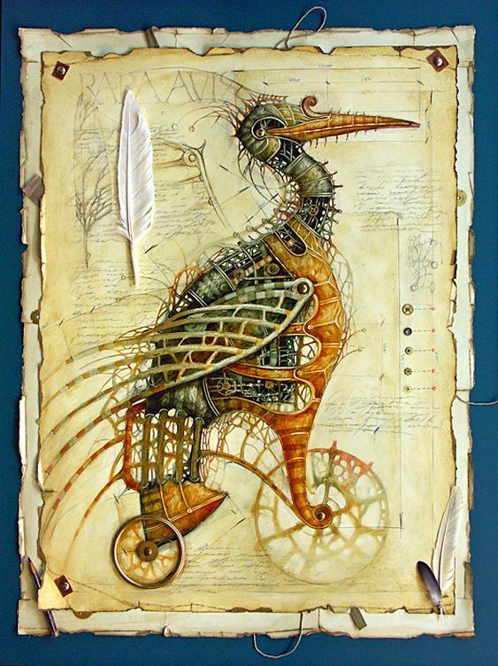 Pássaro steampunk