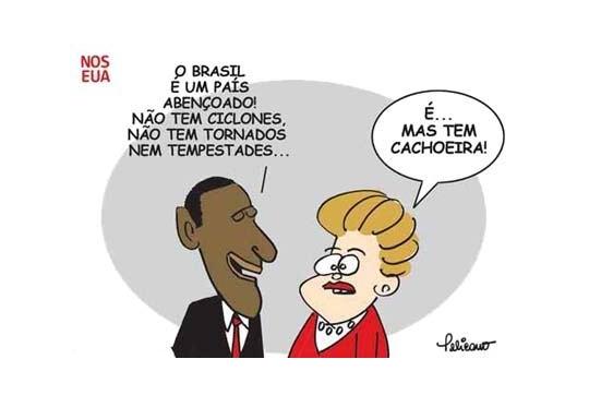 Charge - viagem de Dilma aos Estados Unidos