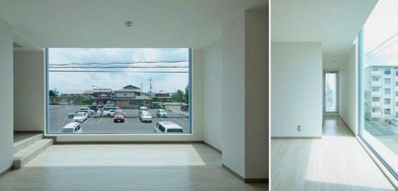 Sala com vista de imóvel triangular