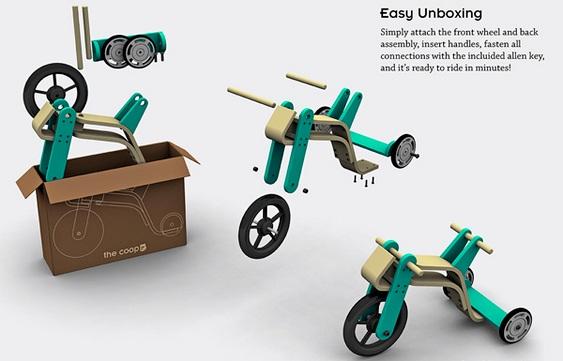 Design de triciclo infantil ecológico
