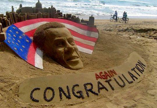 Escultura de areia de Barack Obama