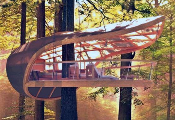 Resort suspenso em árvore