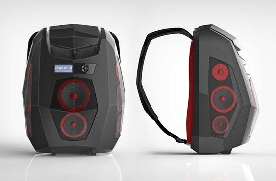 Mochila multimídia com caixas de som