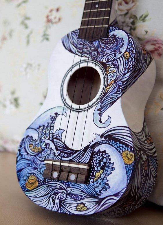 A Grande Onda pintura em violão