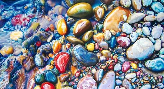 Cascalho colorido de rio