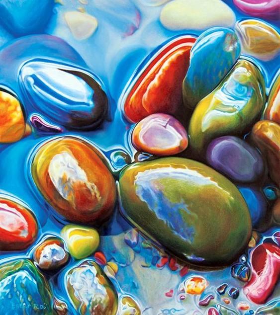 Arte com pedras roladas