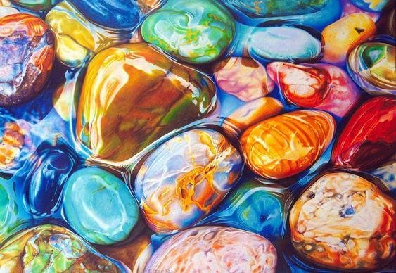 Pedras coloridas de rio