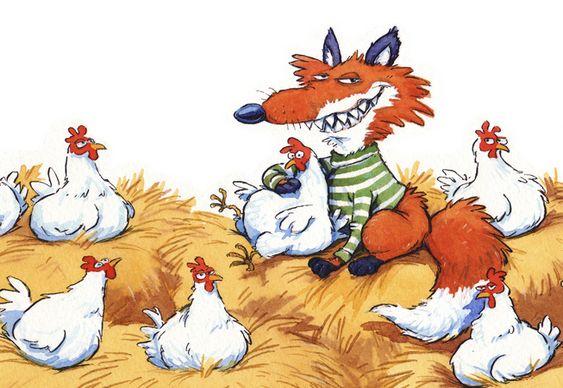 Raposa cuidando das galinhas