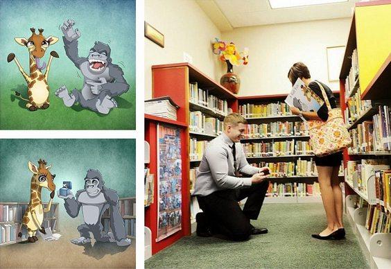 Livro infantil ao invés de alianças