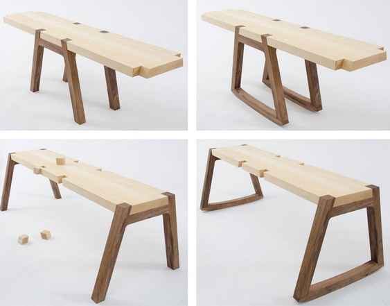 Bancada modular de madeira