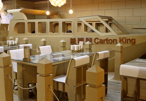 Restaurante de papelão