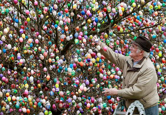 Alemão decora árvore com ovos de Páscoa