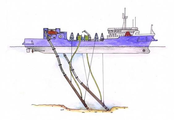 Navio com bombas de sucção