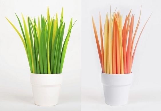 Canetas imitando plantas
