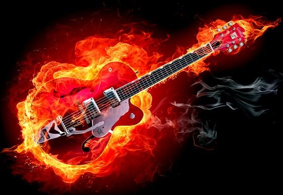 Guitarra pegando fogo