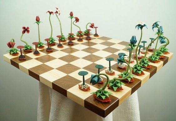 Xadrez com flores exóticas