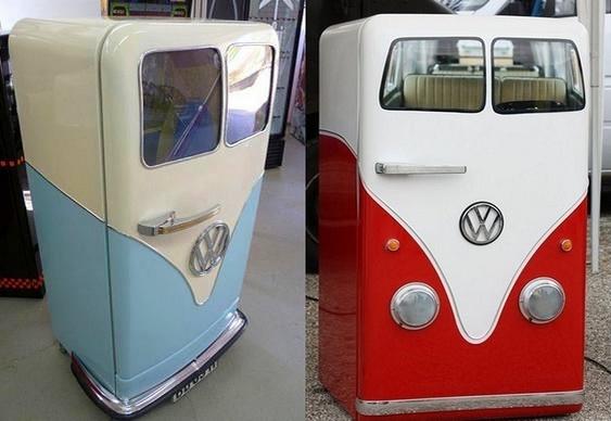 Geladeira decorada como carro